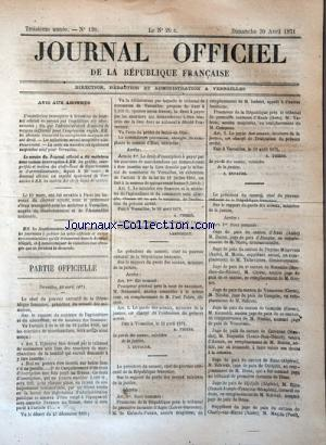 JOURNAL OFFICIEL DE LA REPUBLIQUE FRANÇAISE no:120 30/04/1871