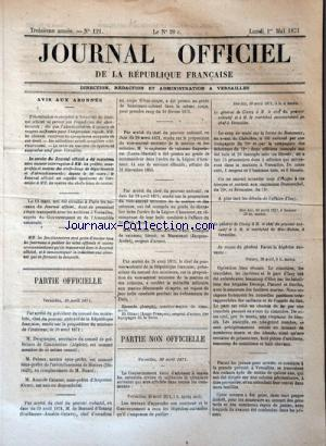 JOURNAL OFFICIEL DE LA REPUBLIQUE FRANÇAISE no:121 01/05/1871