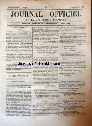 JOURNAL OFFICIEL DE LA REPUBLIQUE FRANÇAISE no:131 11/05/1871