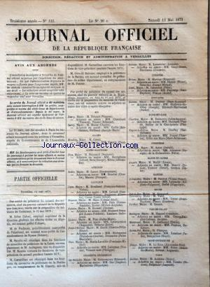 JOURNAL OFFICIEL DE LA REPUBLIQUE FRANÇAISE no:133 13/05/1871