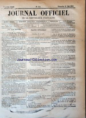 JOURNAL OFFICIEL DE LA REPUBLIQUE FRANÇAISE no:141 21/05/1871