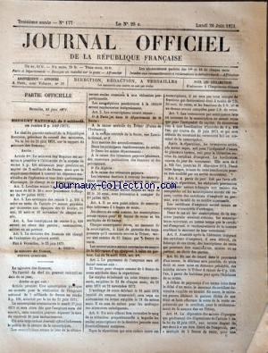 JOURNAL OFFICIEL DE LA REPUBLIQUE FRANÇAISE no:177 26/06/1871