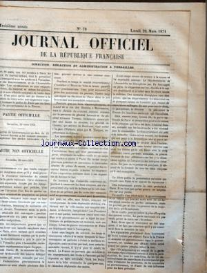 JOURNAL OFFICIEL DE LA REPUBLIQUE FRANÇAISE no:79 20/03/1871