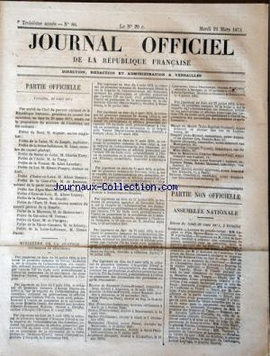 JOURNAL OFFICIEL DE LA REPUBLIQUE FRANÇAISE no:80 21/03/1871