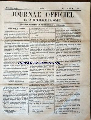 JOURNAL OFFICIEL DE LA REPUBLIQUE FRANÇAISE no:88 29/03/1871
