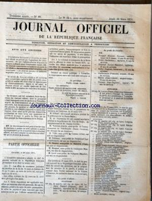 JOURNAL OFFICIEL DE LA REPUBLIQUE FRANÇAISE no:89 30/03/1871
