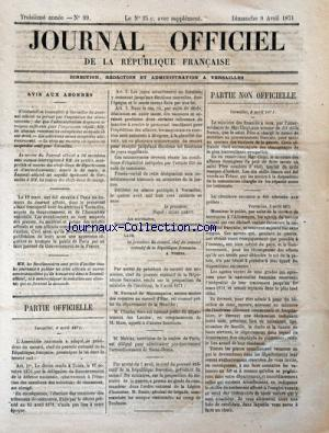 JOURNAL OFFICIEL DE LA REPUBLIQUE FRANÇAISE no:99 09/04/1871