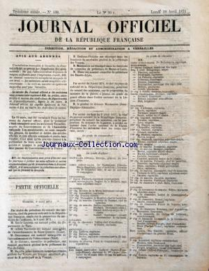 JOURNAL OFFICIEL DE LA REPUBLIQUE FRANÇAISE no:100 10/04/1871