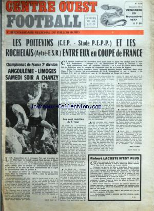 CENTRE OUEST FOOTBALL no:1370 25/11/1977