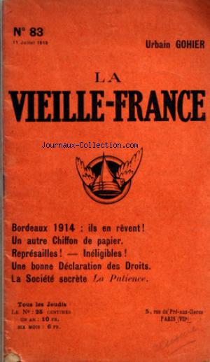 VIEILLE FRANCE (LA) no:83 11/07/1918