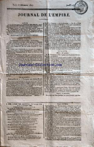 JOURNAL DE L'EMPIRE no: 03/12/1807