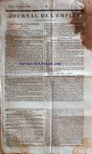 JOURNAL DE L'EMPIRE no: 20/01/1806
