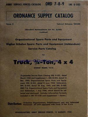 ORDNANCE SUPPLY  CATALOG no: 15/08/1944