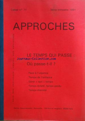 APPROCHES no:71-79 30/09/1991
