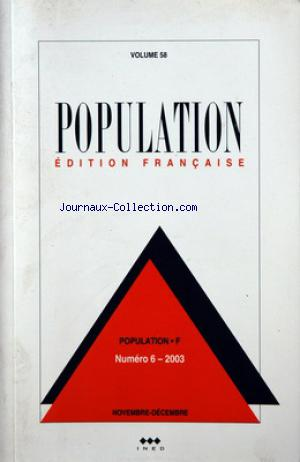 POPULATION EDITION FRANCAISE no:58 -6 01/11/2003