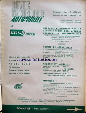 REVUE TECHNIQUE AUTOMOBILE no:96 01/04/1954