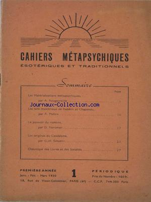 CAHIERS METAPSYCHIQUES no:1 01/01/1950