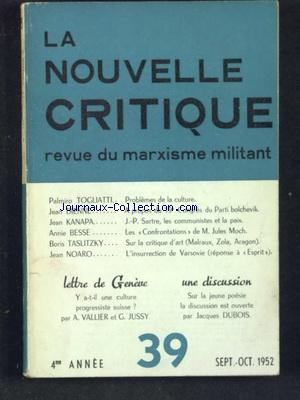 NOUVELLE CRITIQUE (LA) no:39 01/09/1952