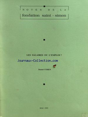 NOTES DE LA FONDATION SAINT SIMON no: 01/05/1995