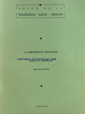 NOTES DE LA FONDATION SAINT SIMON no: 01/02/1994