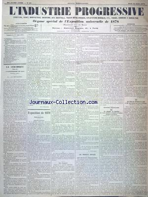 INDUSTRIE PROGRESSIVE (L') no:29 18/07/1878