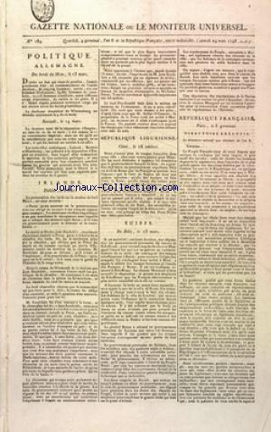 GAZETTE NATIONALE OU LE MONITEUR UNIVERSEL no:184 24/03/1798