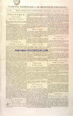 GAZETTE NATIONALE OU LE MONITEUR UNIVERSEL no:185 25/03/1798