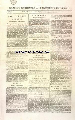 GAZETTE NATIONALE OU LE MONITEUR UNIVERSEL no:218 27/04/1798