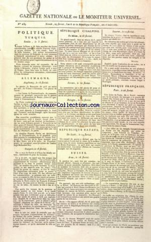 GAZETTE NATIONALE OU LE MONITEUR UNIVERSEL no:239 17/05/1798