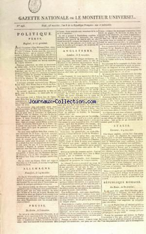 GAZETTE NATIONALE OU LE MONITEUR UNIVERSEL no:293 09/07/1798