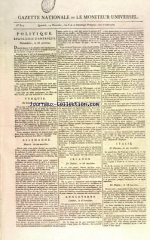 GAZETTE NATIONALE OU LE MONITEUR UNIVERSEL no:314 30/07/1798