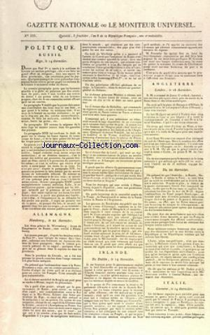 GAZETTE NATIONALE OU LE MONITEUR UNIVERSEL no:335 20/08/1798