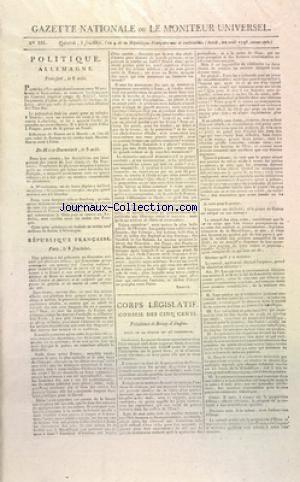 GAZETTE NATIONALE OU LE MONITEUR UNIVERSEL no:335 22/08/1796