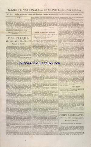 GAZETTE NATIONALE OU LE MONITEUR UNIVERSEL no:357 13/09/1796