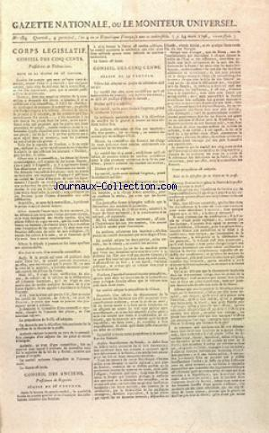 GAZETTE NATIONALE OU LE MONITEUR UNIVERSEL no:184 24/03/1796
