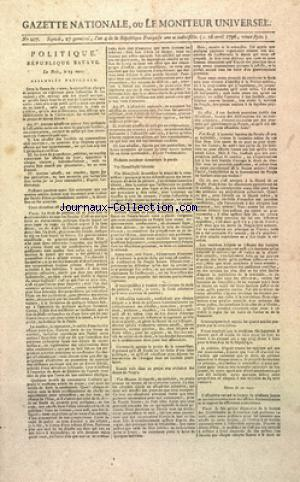 GAZETTE NATIONALE OU LE MONITEUR UNIVERSEL no:207 16/04/1796
