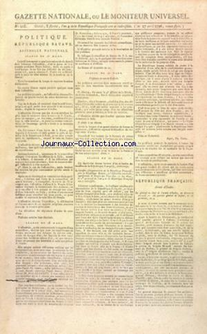 GAZETTE NATIONALE OU LE MONITEUR UNIVERSEL no:218 27/04/1796