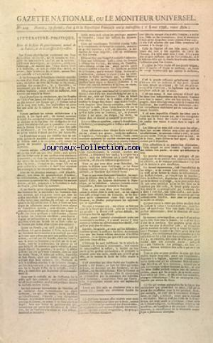 GAZETTE NATIONALE OU LE MONITEUR UNIVERSEL no:229 08/05/1796