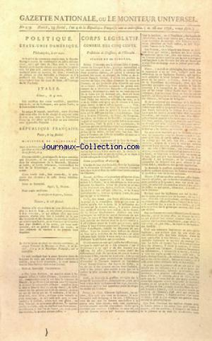 GAZETTE NATIONALE OU LE MONITEUR UNIVERSEL no:239 18/05/1796