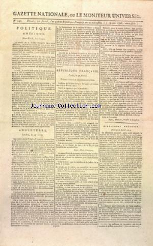 GAZETTE NATIONALE OU LE MONITEUR UNIVERSEL no:240 19/05/1796