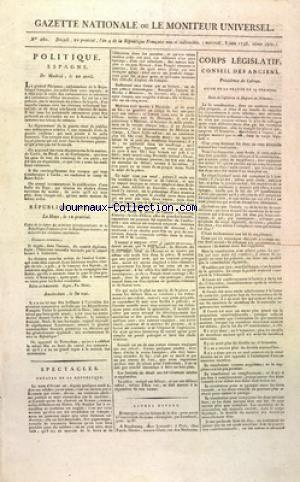 GAZETTE NATIONALE OU LE MONITEUR UNIVERSEL no:260 08/06/1796