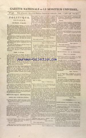 GAZETTE NATIONALE OU LE MONITEUR UNIVERSEL no:293 11/07/1796