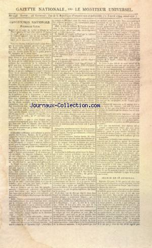 GAZETTE NATIONALE OU LE MONITEUR UNIVERSEL no:196 05/04/1794