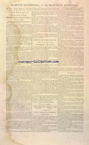 GAZETTE NATIONALE OU LE MONITEUR UNIVERSEL no:218 27/04/1794