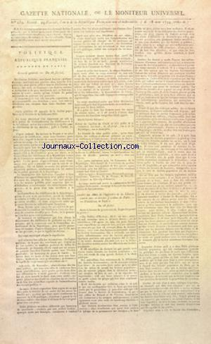 GAZETTE NATIONALE OU LE MONITEUR UNIVERSEL no:239 18/05/1794