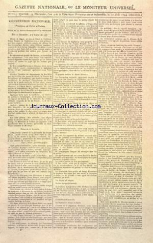 GAZETTE NATIONALE OU LE MONITEUR UNIVERSEL no:314 01/08/1794