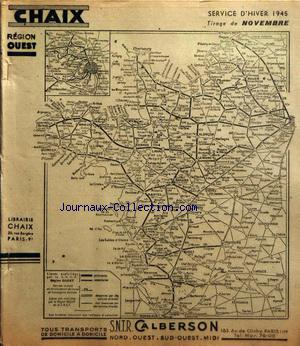 CHAIX REGION OUEST INDICATEUR SNCF no: 01/11/1945