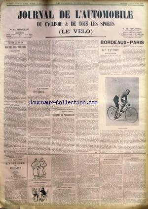 JOURNAL DE L'AUTOMOBILE DU CYCLISME no:540 12/05/1906