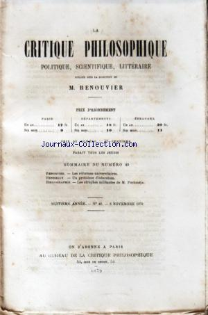 CRITIQUE PHILOSOPHIQUE (LA) no:40 06/11/1879