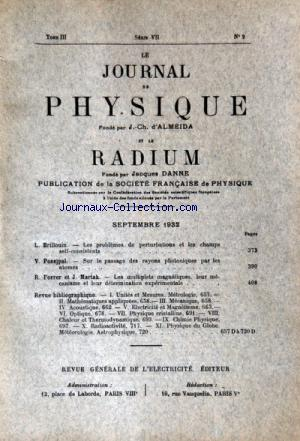 JOURNAL DE PHYSIQUE (LE) no:9 01/09/1932